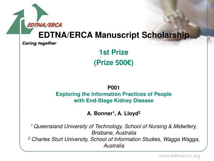 EDTNA/ERCA Manuscript Scholar