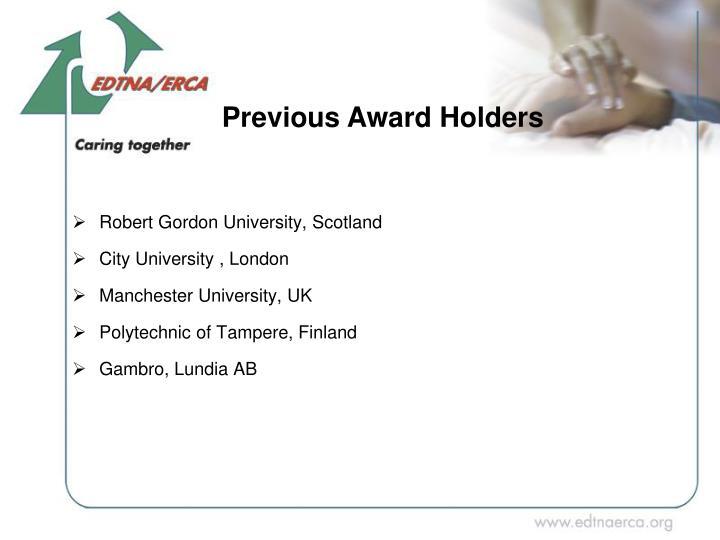 Previous Award Holders
