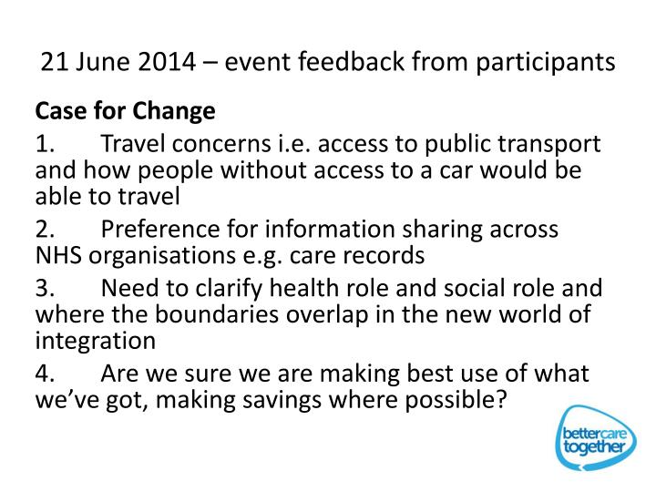 21 June 2014 – event feedback from participants