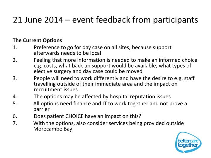 21 June 2014 – event feedback from