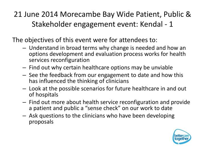 21 June 2014 Morecambe Bay Wide Patient, Public & Stakeholder engagement event: Kendal - 1
