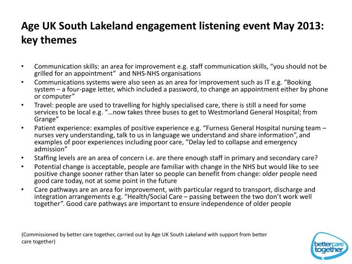 Age UK South Lakeland engagement listening event May 2013: key themes