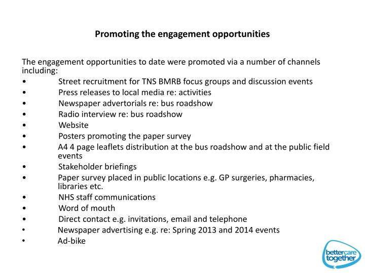 Promoting the engagement opportunities