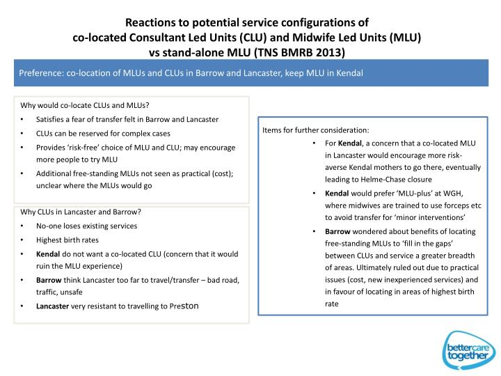Reactions to potential service configurations of