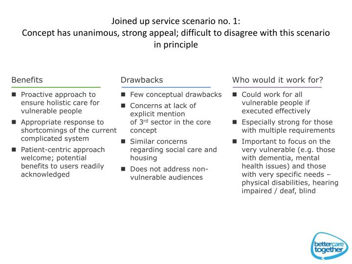 Joined up service scenario no. 1: