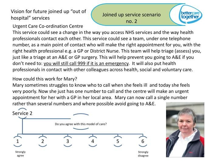 "Vision for future joined up ""out of hospital"" services"