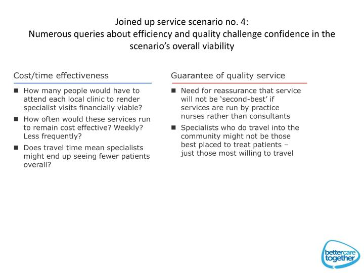 Joined up service scenario no. 4: