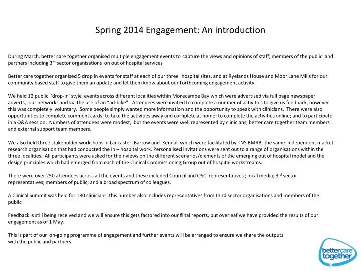 Spring 2014 Engagement: An introduction
