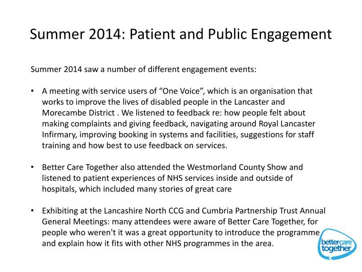 Summer 2014: Patient and Public Engagement