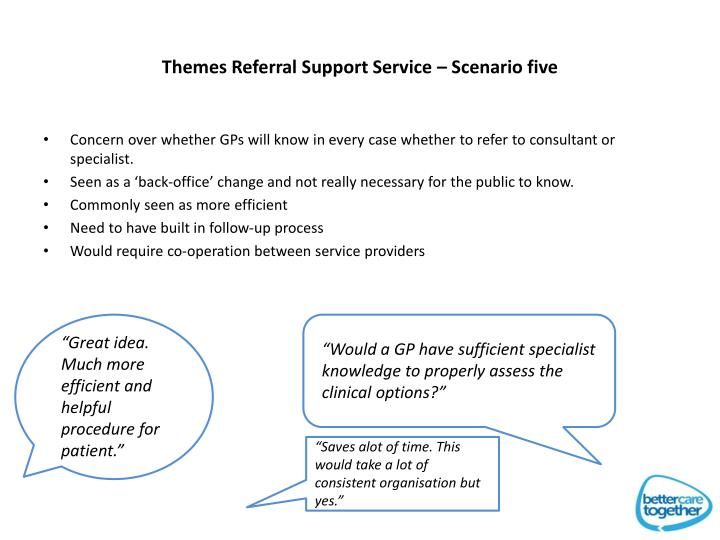 Themes Referral Support Service – Scenario five