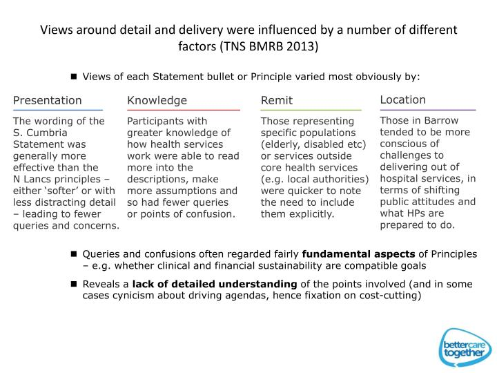Views around detail and delivery were influenced by a number of different