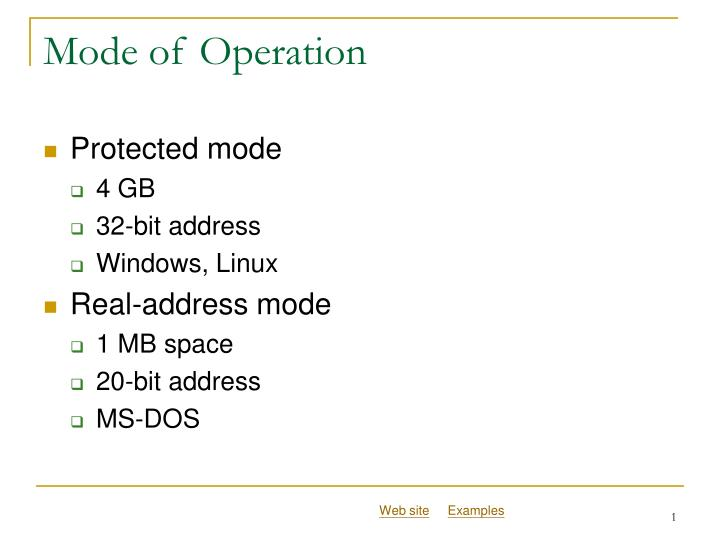 mode of operation n.