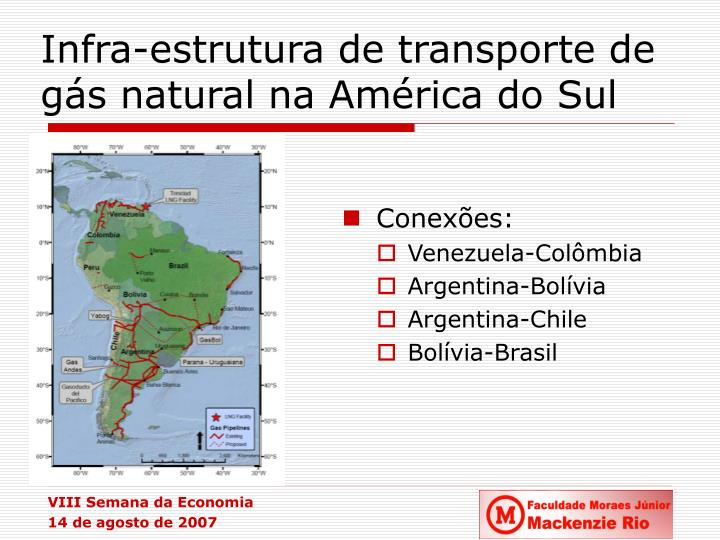 Infra-estrutura de transporte de gás natural na América do Sul