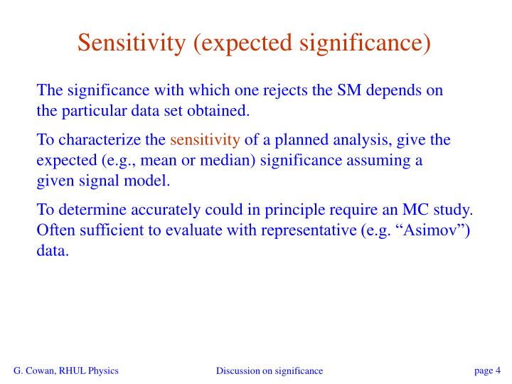 Sensitivity (expected significance)