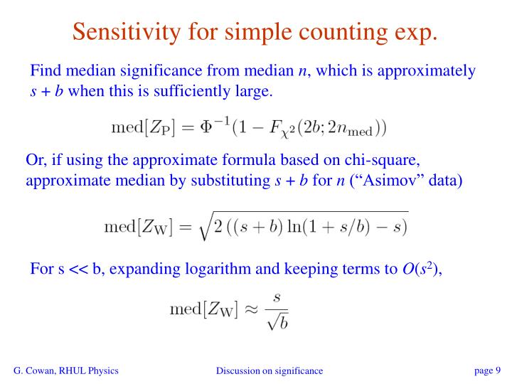 Sensitivity for simple counting exp.