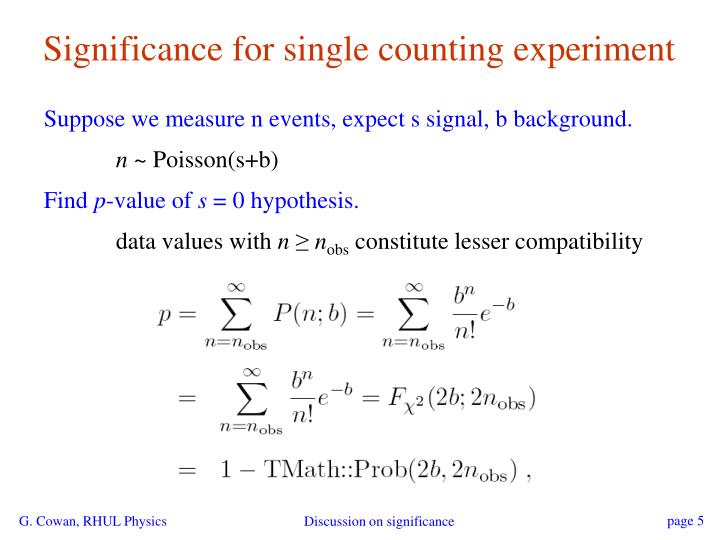 Significance for single counting experiment