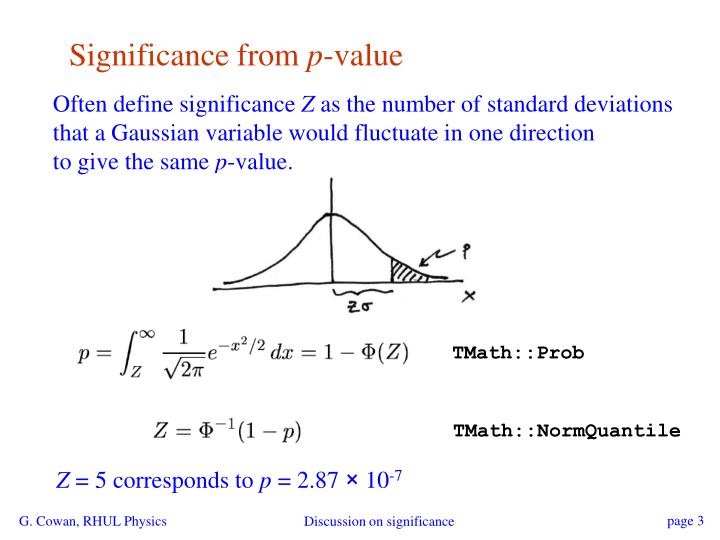 Significance from p value