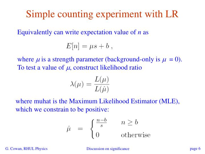 Simple counting experiment with LR