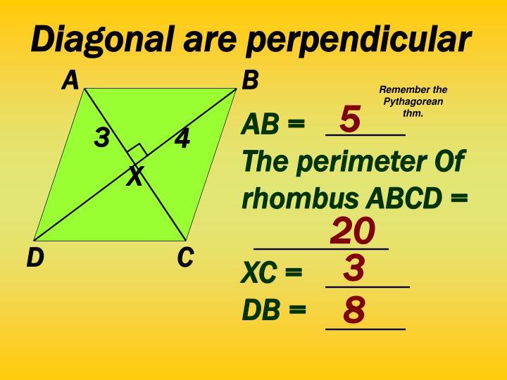 Diagonal are perpendicular