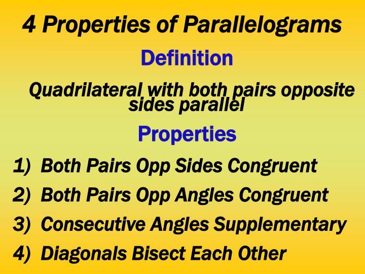 4 Properties of Parallelograms