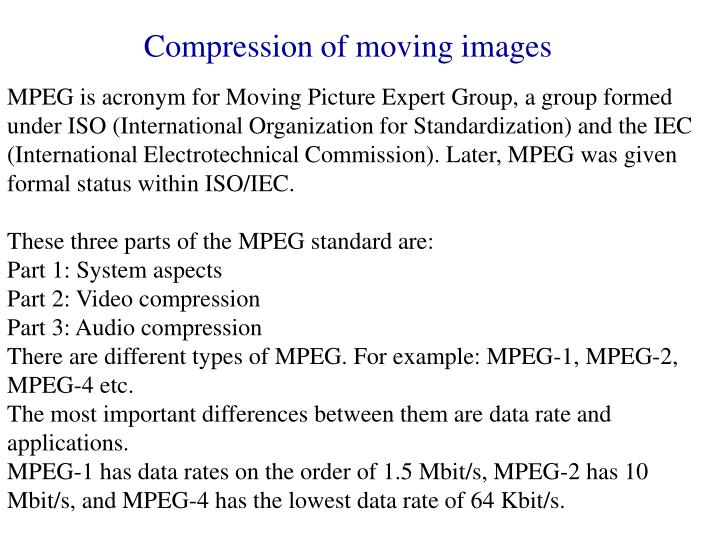 Compression of moving images