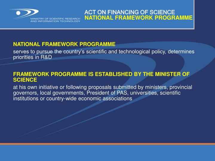 ACT ON FINANCING OF SCIENCE