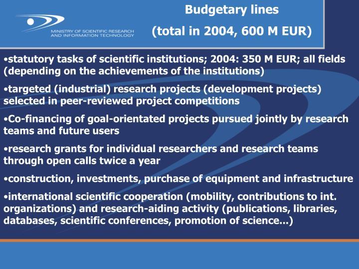Budgetary lines