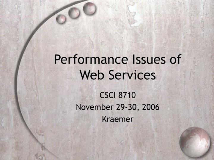 performance issues of web services n.