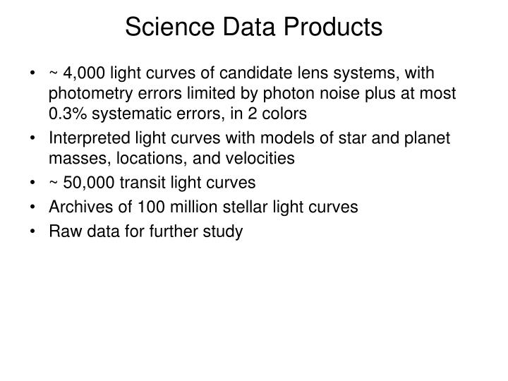 Science Data Products