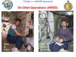 on orbit operations ariss