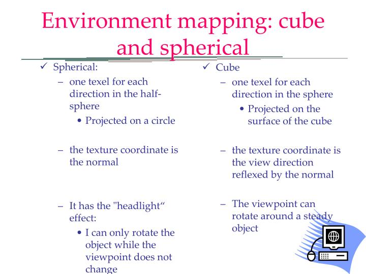 Environment mapping: cube and spherical