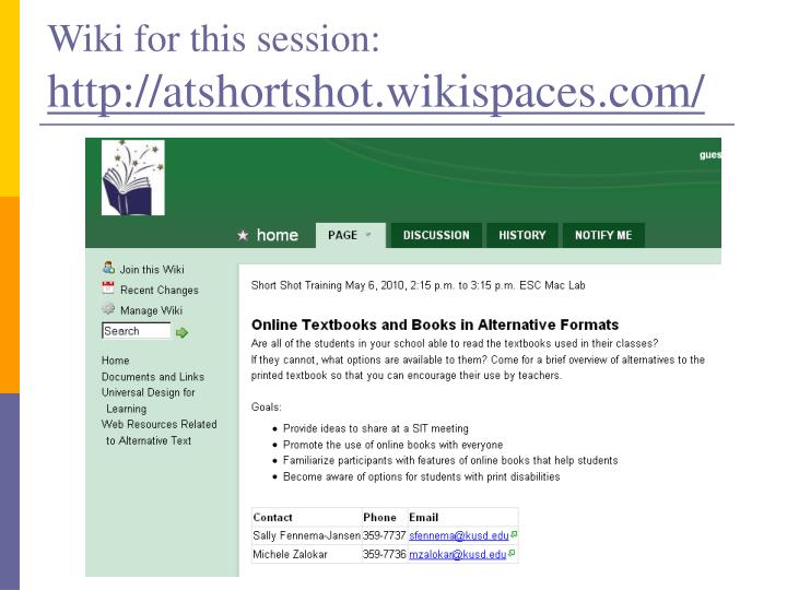 Wiki for this session: