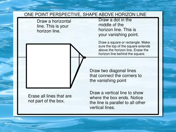 ONE POINT PERSPECTIVE, SHAPE ABOVE HORIZON LINE