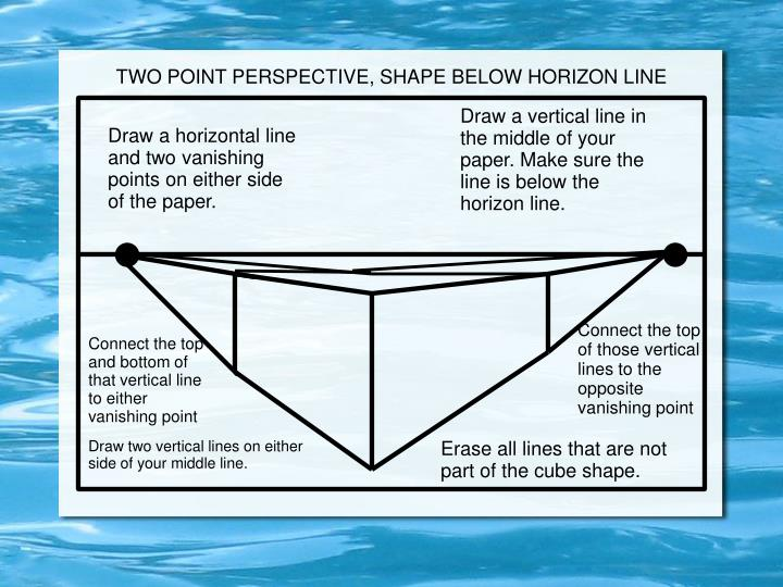 TWO POINT PERSPECTIVE, SHAPE BELOW HORIZON LINE