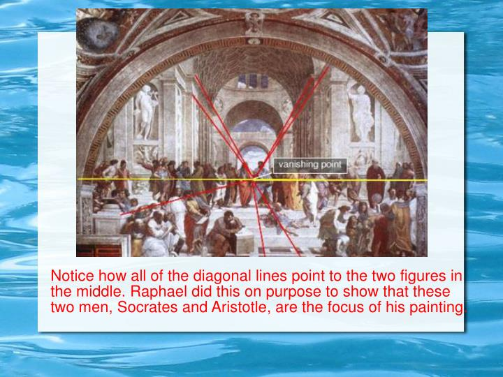 Notice how all of the diagonal lines point to the two figures in the middle. Raphael did this on purpose to show that these two men, Socrates and Aristotle, are the focus of his painting.