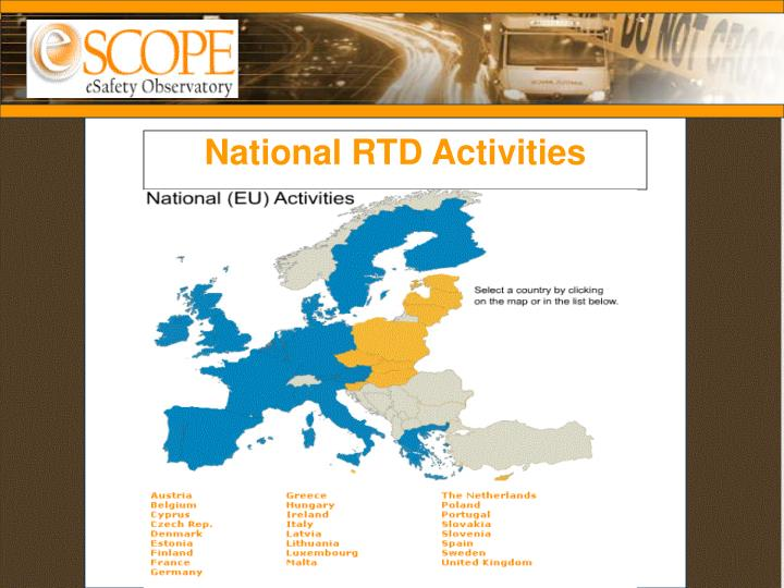 National RTD Activities