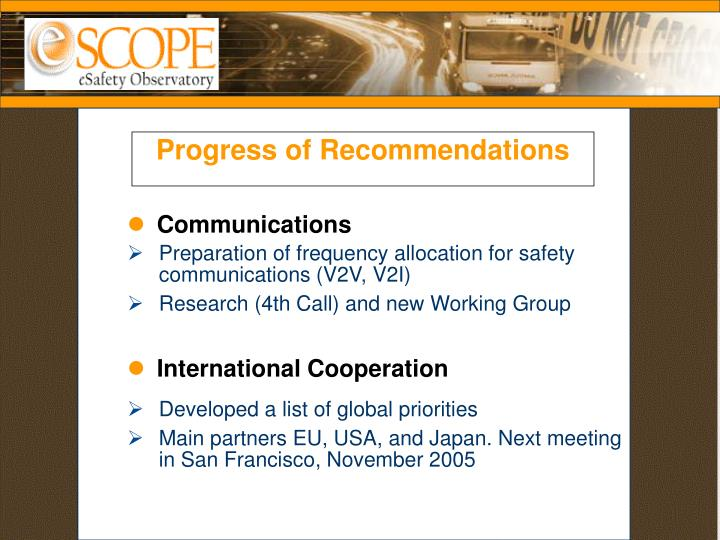 Progress of Recommendations