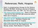 references reiki hospice