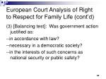 european court analysis of right to respect for family life cont d