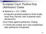 european court positive duty admission cases