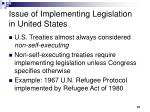 issue of implementing legislation in united states