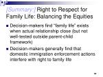 summary right to respect for family life balancing the equities