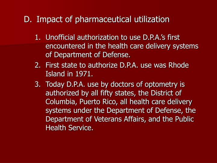 Impact of pharmaceutical utilization