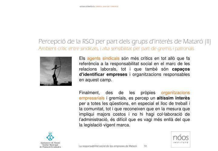 Percepció de la RSO per part dels grups d'interès de Mataró (II)