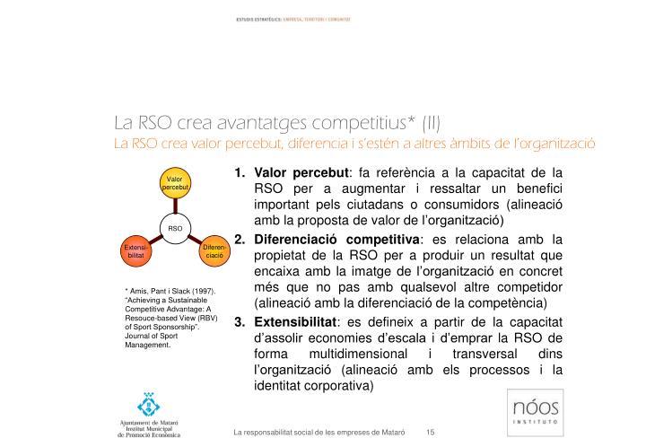La RSO crea avantatges competitius* (II)