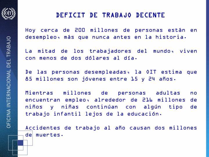 DEFICIT DE TRABAJO DECENTE