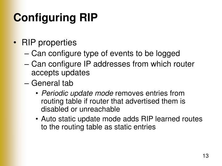 Configuring RIP