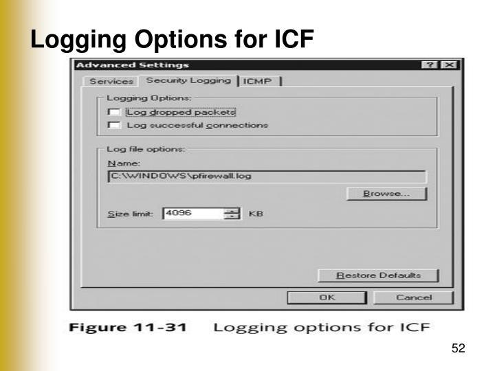 Logging Options for ICF