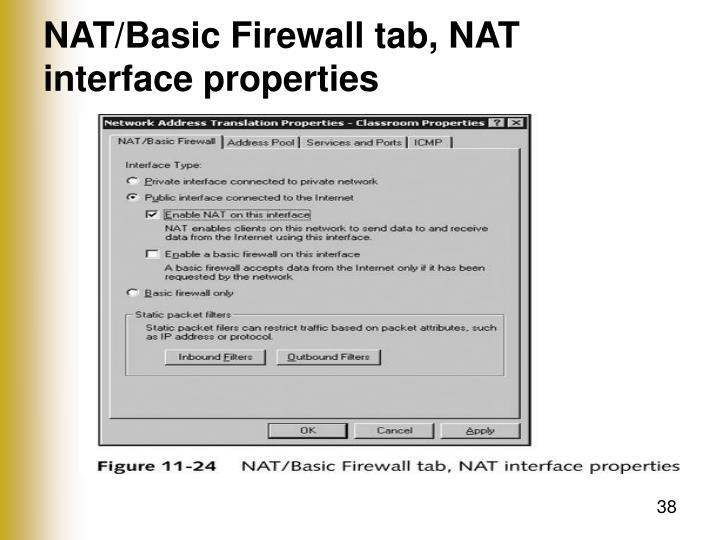 NAT/Basic Firewall tab, NAT interface properties