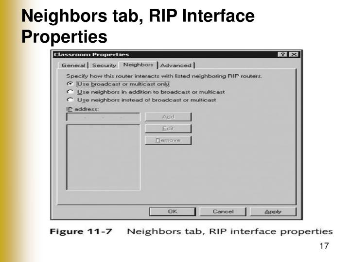 Neighbors tab, RIP Interface Properties